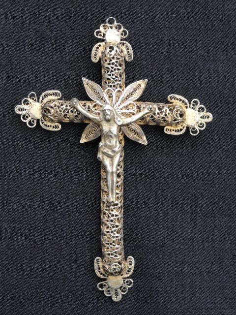 Crucifix de filigrana de plata